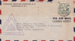 CURACAO - CIRCULATED ENVELOPE FROM CURAÇAO TO BUENOS AIRES, ARGENTINA IN 1942 BY AIR MAIL -LILHU - Curaçao, Antille Olandesi, Aruba