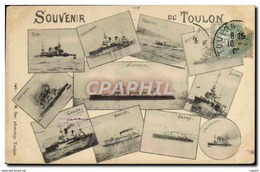 CPA Bateau De Guerre Toulon Gaulois Iena Suffren Charlemagne Desaix - Warships