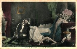 Tableau Peintre H - Juan E Harris, La Loi De L'honneur, Cocu Vengé Adultère Chambre Femme Nue Lampe à Pétrole - Pittura & Quadri