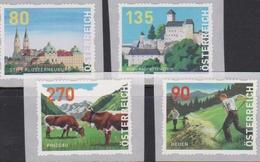AUSTRIA, 2019, MNH, SELF-ADHESIVE COILS, CASTLES, COWS, AGRICULTURE, MOUNTAINS,  4v - Châteaux