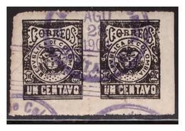 1901 COLOMBIA Sc. 185 PAR IMPERFORADO UN CENTAVO, GUERRA De Los MIL DÍAS,  Thousand Days' War - Colombia