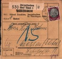 ! 1934 Paketkarte, Deutsches Reich, Jurgaitschen, Kanasch Kreis Tilsit, Ostpreußen - Allemagne