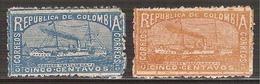 1903-1904 Colombia Crucero Cartagena  Cruiser 2 Sellos Nuevos Sc. 209-210 - Colombia