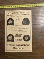 1927 PUBLICITE TAPIS TALONS CAOUTCHOUC LEVALLOIS PERRET SANC LE VICTORIEUX CONSTANT CAMUSAT - Old Paper