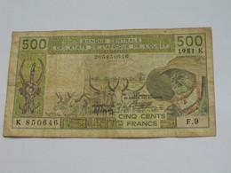 500 Francs 1981 - SENEGAL = K - Banque Centrale Des Etats De L'Afrique De L'Ouest **** EN ACHAT IMMEDIAT **** - Sénégal