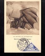 """MONACO 1956 Carte Maximum """" LES MOYENS DE LOCOMOTION : MACHINE VOLANTE D'ADER """" N° YT 467 Voir Le Scan. Parf état. CM - Airplanes"""