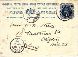 ADEN 1899 INDIAN QV.POSTCARD SEND BRISTOL UK - Aden (1854-1963)