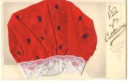 N°14004 - Vive Ste Catherine - Bonnet Rouge Avec Des Points Noir Et Bord En Dentelle - Santa Catalina