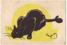 N°14014 - Harry Eliott - Chat Noir Sur Fond Jaune - Elliot