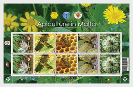 MALTA, 2019, MNH, BEES, APICULTURE IN MALTA, SHEETLET OF 2 SETS - Abejas