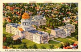 West Virginia Charleston Airplane View State Capitol Building Curteich - Charleston