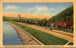 West Virginia Charleston Kanawha Boulevard From Kanawha City Bridge Showing Capitol Dome 1945 Curteich - Charleston