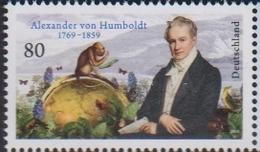 GERMANY, 2019, MNH,ALEXANDER VON HUMBOLDT, MONKEYS, BUTTERFLIES , BIRDS,1v - Mariposas