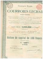 Titre Ancien -Fabrique Russe De Courroies Lechat - Titre De 1900 - - Industrie