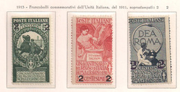 REGNO D'ITALIA 1913 FRANCOBOLLI DEL 1911 SOPRASTAMPATI SASS. 99-101 MLH VF - Nuovi