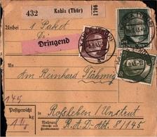 ! 1943 Paketkarte Deutsches Reich Aus Kahla In Thüringen Nach Roßleben / Unstrut, R.A.D. Reichsarbeitsdienst Lager 8/145 - Germania