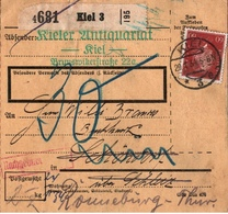 ! 1934 Paketkarte Deutsches Reich Aus Kiel N. Schleiz, Ronneburg, Nachgebühr - Storia Postale