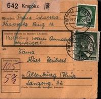 ! 1943 Paketkarte Deutsches Reich Aus Krappitz In Oberschlesien Nach Altenburg - Allemagne