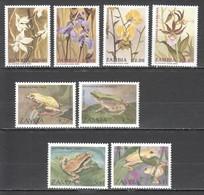 A596 1992 ZAMBIA FAUNA REPTILES & AMPHIBIANS FROGS FLOWERS PLANTS #470-73 #595-98 2SET MNH - Grenouilles