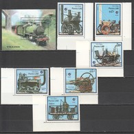 C877 1988,1997 CAMBODGE,LAO TRANSPORTATION TRAINS 1BL+1SET MNH - Trains