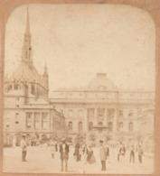 PARIS 1er C.1860 PALAIS DE JUSTICE ET LA SAINTE STE CHAPELLE  Photo Stereo 2scans - Stereoscopic