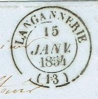 CALVADOS 14 LANGANNERIE LSC TAD 14 Du 15/01/1854 PC 1634 Sur N° 10 (très Bien Margé) SUP Signé Baudot - Marcophilie (Lettres)