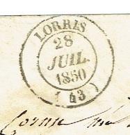 LOIRET 45 LORRIS ENV ST TAD 14 Du 28/07/1850 Grille Sur N° 4 (touchè) Oblitérations SUP - Marcofilia (sobres)