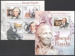 TG815 2012 TOGO TOGOLAISE ART MUSIC GREAT COMPOSER JOSEPH HAYDN 1KB+1BL MNH - Musique