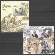 TG823 2012 TOGO TOGOLAISE FAMOUS PEOPLE CHARLES DARWIN 1KB+1BL MNH - Postzegels