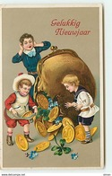N°12978 - Carte Gaufrée - Gelukkig Nieuwjaar - Enfants Prenant Des Pièces D'or - Nieuwjaar