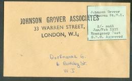 Vignette Anglaise JOHNSON GROVER WARREN St. W.I. 2/- Mail Jan/Feb. 1971 Emergency Post G.P.O. Approved. Annulé Par La Gr - 1952-.... (Elizabeth II)