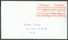 Vignette Anglaise Postage JOHN S. CUBE LTD 1971 One Shilling Annulé Par La Griffe PRIVATE MAIL 8/2/71 On Local Enveloppe - 1952-.... (Elizabeth II)