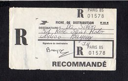 1987 Environs / De Paris 85 Pour Bayeux 14 / Fiche Distribution D'un Colis Postal En Recommandé Avec Signature - Postmark Collection (Covers)