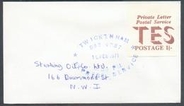 Vignette Anglaise Private Letter Postal Service TES Postage 1/-  Annulé Par La Griffe Bleue TWICKINHAM 892 4887 10 FEB. - 1952-.... (Elizabeth II)