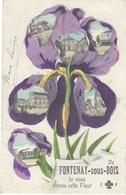 94 - FONTENAY-sous-BOIS - MULTIVUES Fleur Iris - Peinte à La Main - écrite - - Fontenay Sous Bois