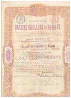 Titre Ancien - Chemins De Fer Vicinaux Des Bassins Houillers Du Hainaut  - Titre De 1870 - Déco - Chemin De Fer & Tramway