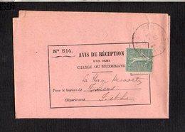 1919 Sur Avis De Réception Lettre D'Indre Loire / Cachet Manuel A4 étoile (R) Tours  Sur Semeuse Pour La Haye Descartes - Storia Postale