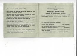 DP 9367 - MANUEL SINNAEVE - VERFAILLIE - DIKSMUIDE 1947 + VERKEERSONGEVAL - DE PINTE 1974 - Santini
