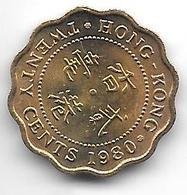 * HONG KONG 20 Cents  1980 Km  36 Bu !!!!! - Hongkong