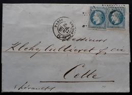 """Frankreich 1868, Brief Sternstempel """"1"""" PARIS Gelaufen CETTE - 1863-1870 Napoleon III With Laurels"""