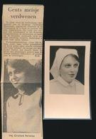ALS VERMIST AANGEGEVEN - CHRISTIANE HERREMANS - GENT 1943 - TRAGISCHE OMSTANDIGHEDEN ANTWERPEN 1964 -   2 SCANS - Obituary Notices