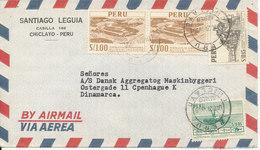 Peru Air Mail Cover Sent To Denmark 21-12-1955 - Peru