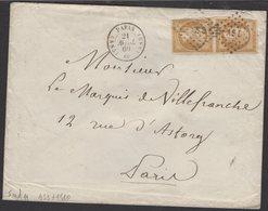 PARIS : Pli Avec 10c Empire Non Dentelé Oblt Losange AS3 + CàDate PARIS 1510 > PARIS (lettre Locale De 2° échelon) - 1849-1876: Klassieke Periode