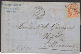 PARIS : Pli Avec 40c Empire Non Dentelé Oblt Losange CS1 + CàDate PARIS 1518 GSO HS ' > BORDEAUX - 1849-1876: Klassieke Periode