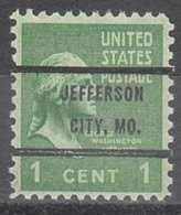 USA Precancel Vorausentwertung Preo, Bureau Missouri, Jefferson City 804-72 - Vereinigte Staaten