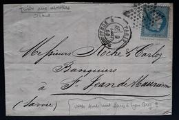 """Frankreich 1869, Brief Sternstempel """"15"""" PARIS Gelaufen - 1863-1870 Napoleon III With Laurels"""