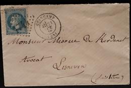 """Frankreich 1870, Brief Nummernstempel """"1744"""" GUINGAMP Gelaufen LESNEVEN - 1863-1870 Napoleon III With Laurels"""