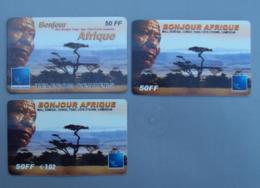 004, Lot De 3 Cartes Prépayées Bonjour Afrique - France