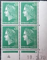 R1949/1480 - 1970 - TYPE MARIANNE DE CHEFFER - BLOC - N°1611b TIMBRES NEUFS** CdF Daté (avec Phosphore) - Dated Corners