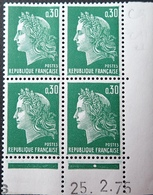 R1949/1485 - 1975 - TYPE MARIANNE DE CHEFFER - BLOC - N°1611 TIMBRES NEUFS** CdF Daté - Dated Corners